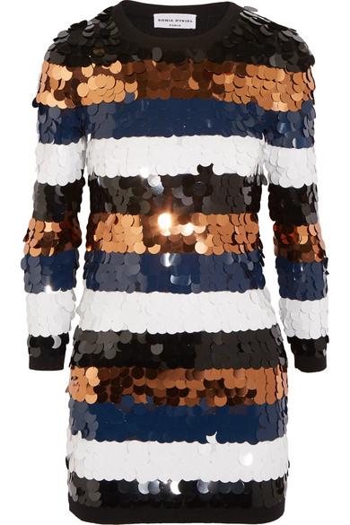 Sonia Rykiel - Sequined Wool-jersey Mini Dress - Navy