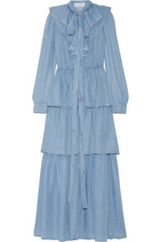 Sonia Rykiel Ruffled tiered chambray maxi dress