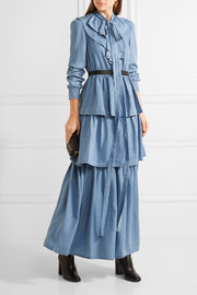 Ruffled tiered Tencel-chambray maxi dress