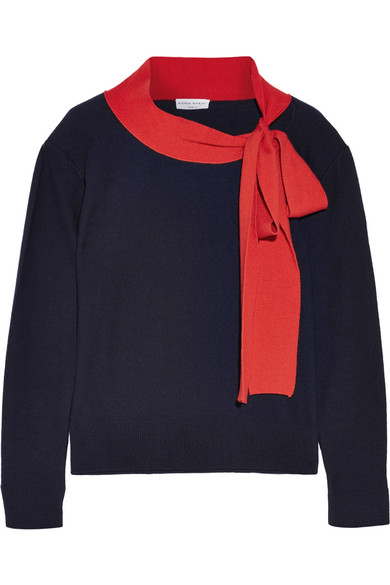 Sonia Rykiel - Pussy-bow Wool And Cashmere-blend Sweater - Midnight blue