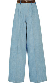 Suede-trimmed mid-rise wide-leg jeans