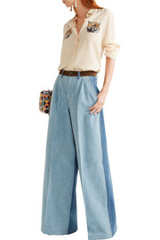 Sonia Rykiel Suede-trimmed mid-rise wide-leg jeans