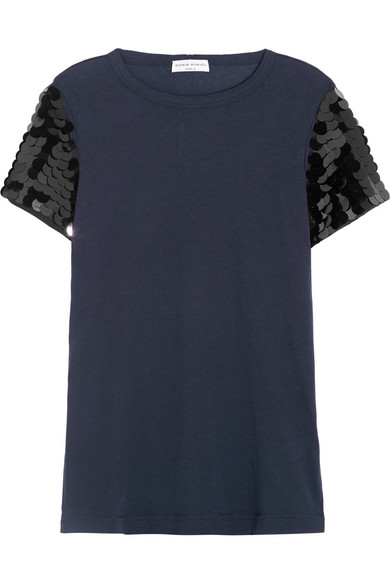 Sonia Rykiel - Sequin-embellished Cotton-jersey T-shirt - Navy