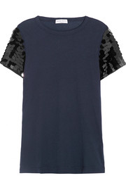 Sonia Rykiel Sequin-embellished cotton-jersey T-shirt