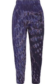 Raquel Allegra Signature tie-dyed cotton-blend jersey tapered pants