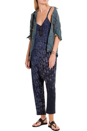 Raquel Allegra Tie-dyed cotton-blend jersey jumpsuit