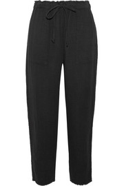 Raquel Allegra Crinkled cotton-gauze tapered pants
