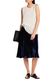 Raquel Allegra Distressed voile and jersey tank