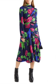 Cutout floral-print crepe dress