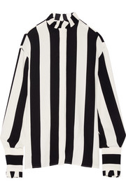 MSGM Ruffle-trimmed striped crepe blouse