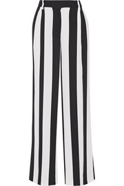 Pleated striped crepe wide-leg pants