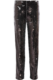 Sequined crepe straight-leg pants