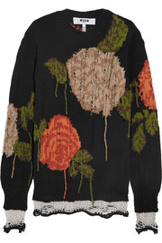 Oversized floral-intarsia wool-blend sweater