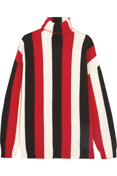 MSGM - Striped Wool-blend Turtleneck Sweater - Red