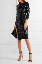 Sequin-embellished merino wool dress