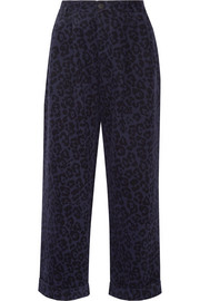 Leopard-print brushed cotton-twill wide-leg pants