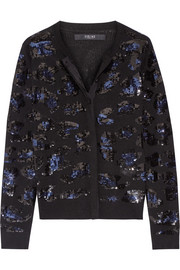 Sequin-embellished merino wool cardigan