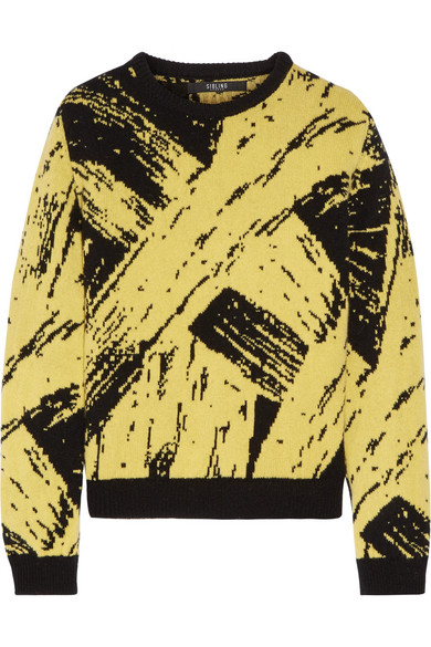 Sibling - Soulages Paint Intarsia Wool Sweater - Yellow