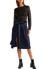 Leopard-print brushed cotton-twill wrap skirt