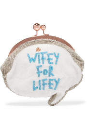 Wifey For Lifey beaded cotton clutch