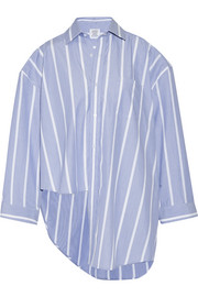 Oversized asymmetric striped cotton-poplin shirt