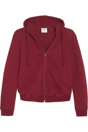 Cropped embroidered cotton-blend hooded sweatshirt