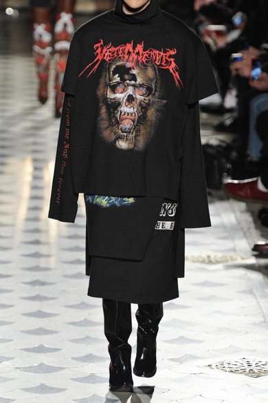 Vetements Layered Printed Cotton Jersey T Shirt Dress