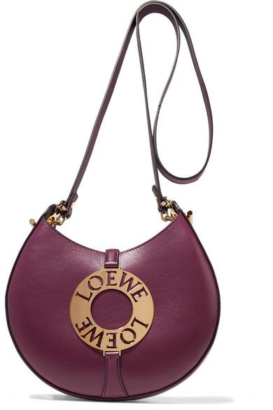 Loewe - Joyce Small Embellished Leather Shoulder Bag - Burgundy