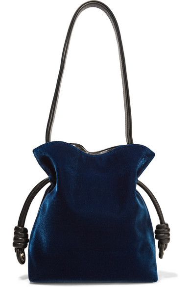 Loewe - Flamenco Knot Small Leather-trimmed Velvet Shoulder Bag - Storm blue