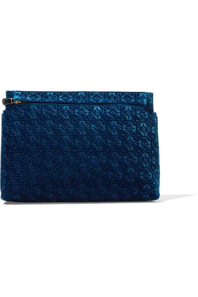 Loewe - Leather-trimmed Embossed Velvet Clutch - Cobalt blue