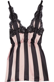 Amori Imprigionati lace-trimmed striped silk-satin camisole