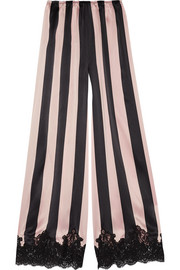 Rosamosario Amori Imprigionati lace-trimmed striped silk-satin pajama pants