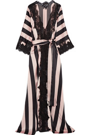Amori Imprigionati lace-trimmed striped silk-satin robe