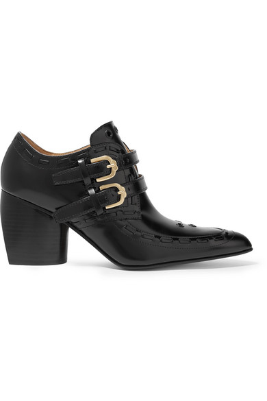 Joseph - Eyelet-embellished Glossed-leather Ankle Boots - Black
