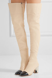 Two-tone leather over-the-knee boots