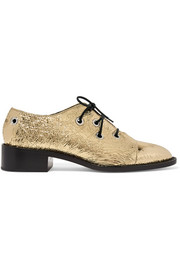 Metallic crinkled-leather brogues