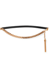 Tassel-trimmed gold-tone and leather belt