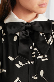 Saint Laurent Silk bow-embellished leather collar