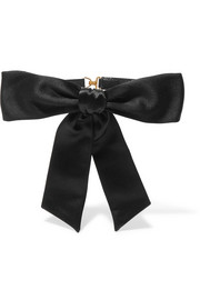 Silk bow-embellished leather collar