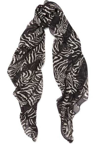 Saint Laurent - Printed Cashmere And Silk-blend Scarf - Zebra print