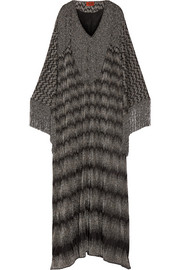 Fringed metallic crochet-knit maxi dress