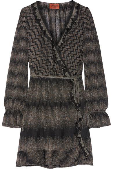 Missoni. Ruffle-trimmed metallic crochet-knit wrap dress