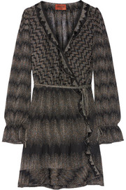 Missoni Ruffle-trimmed metallic crochet-knit wrap dress