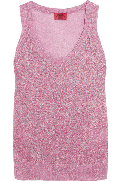 Missoni - Metallic Crochet-knit Tank - Pink