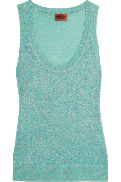 Missoni - Metallic Crochet-knit Tank - Turquoise