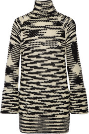 Missoni Crochet-knit wool-blend turtleneck mini dress