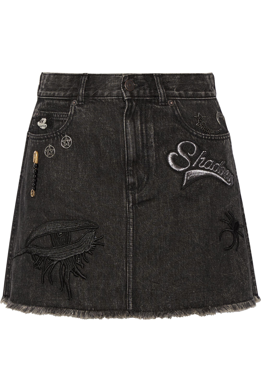 Runway Marc Jacobs Embellished appliquéd denim mini skirt