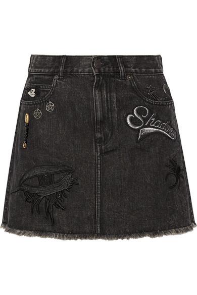 marc jacobs female 188971 marc jacobs embellished appliqued denim mini skirt black