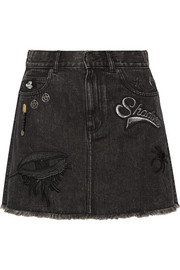 Embellished appliquéd denim mini skirt