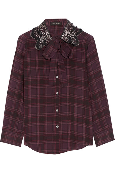 marc jacobs female 124318 marc jacobs pussybow embellished checked silk blouse plum